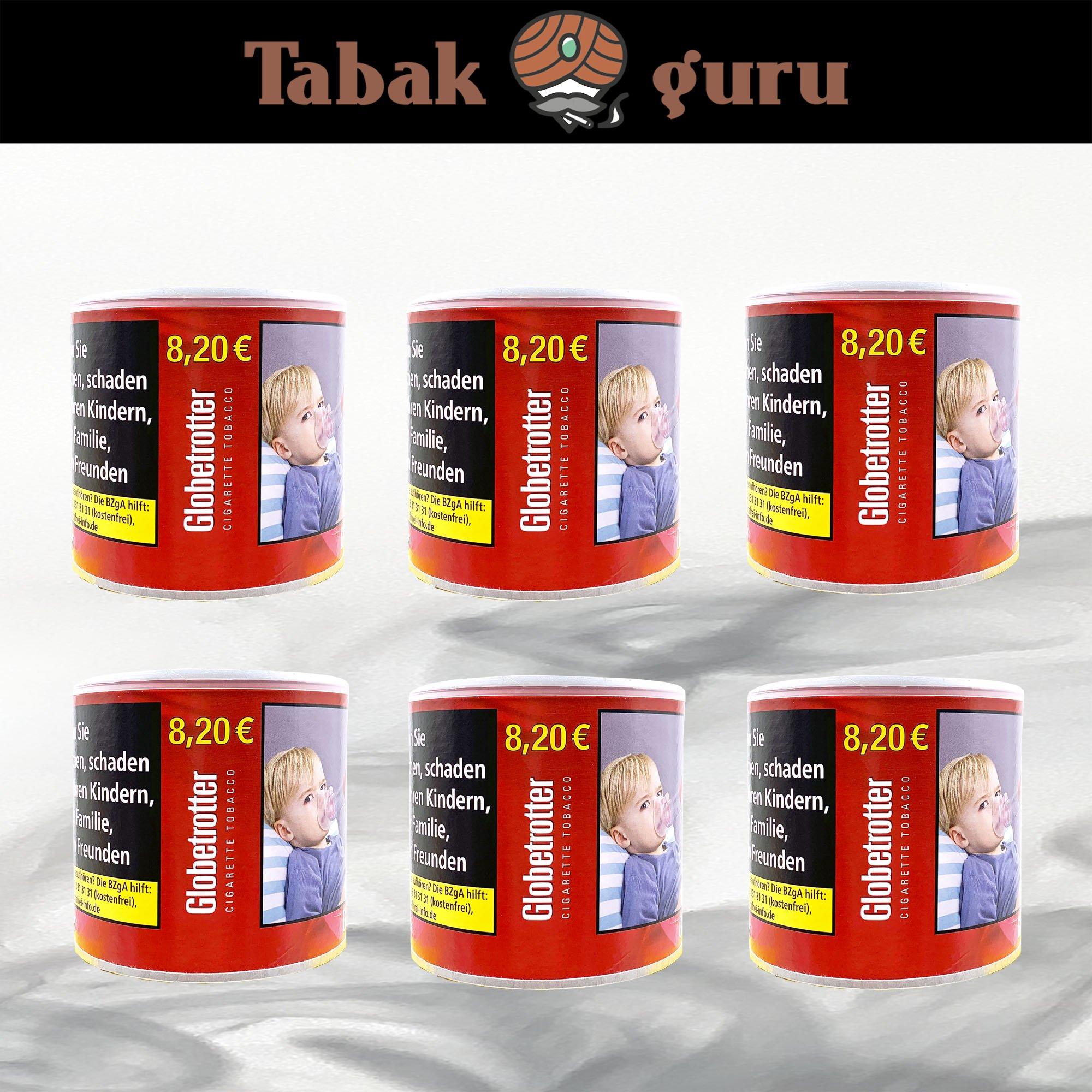 6 x Globetrotter Red Zigarettentabak, Volumentabak, 70g Dose