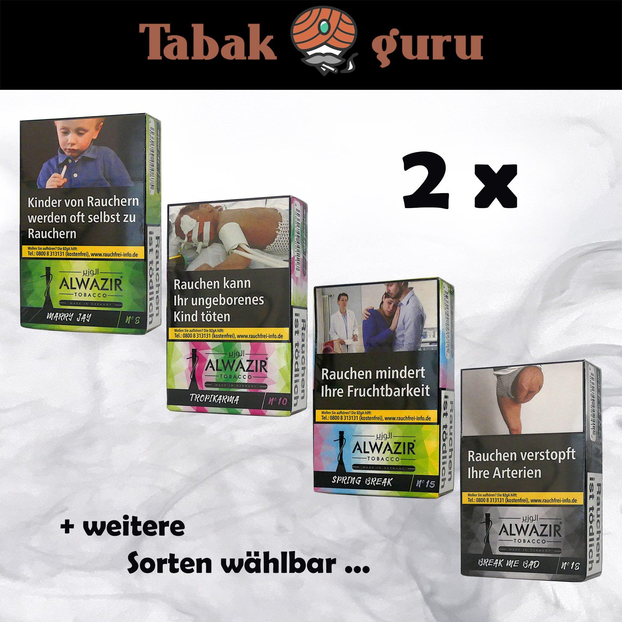 2 Packs Alwazir Shisha Tabak 50g - alle Sorten wählbar