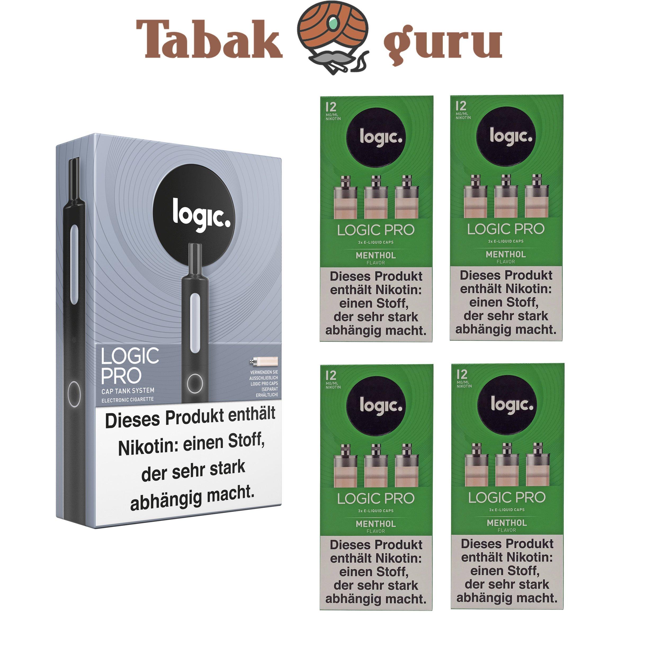 Logic Pro Cap Tank System Starterset Schwarz + 4x Menthol Flavor Liquids