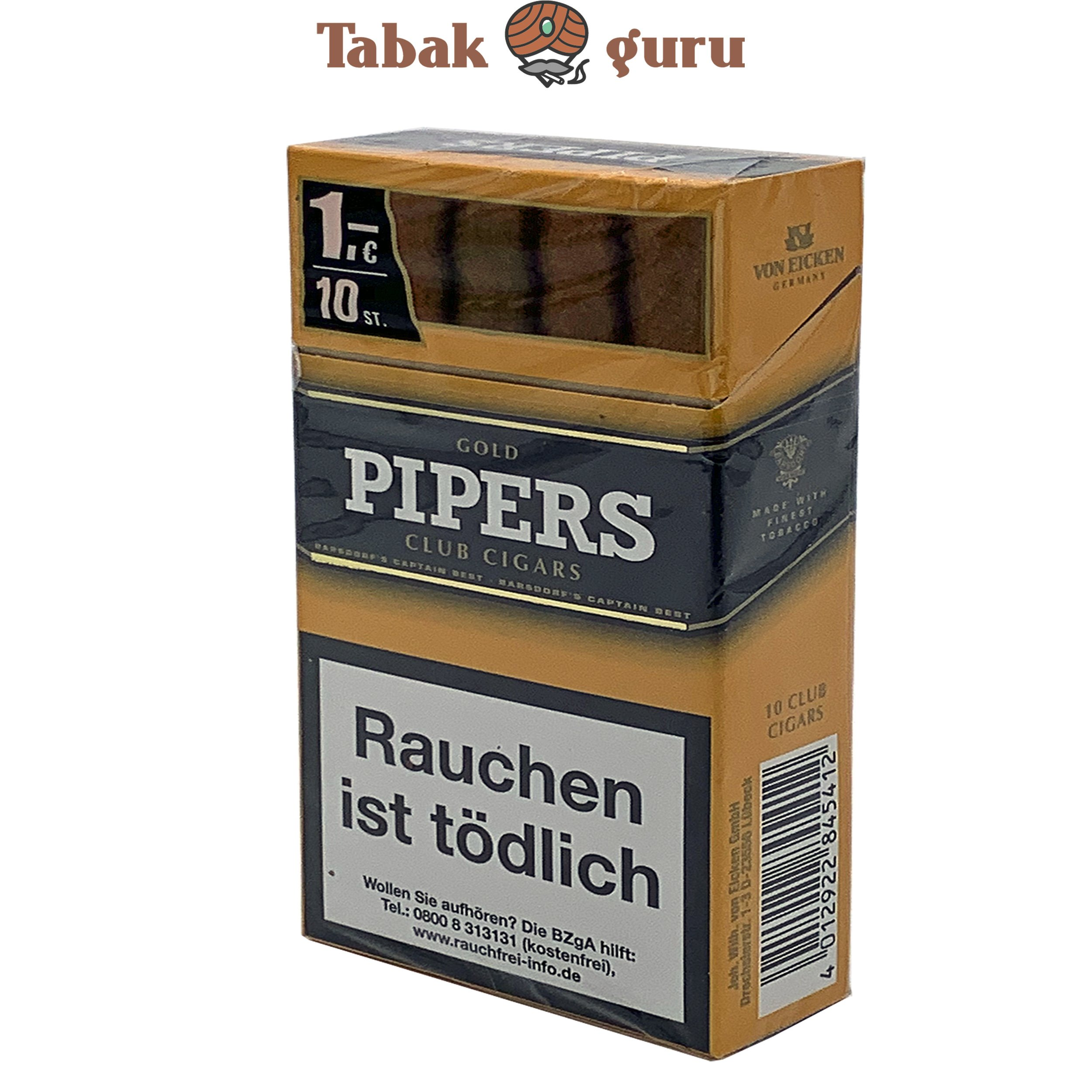 Pipers Club Cigars Gold - Vanilla (10 Zigarren)