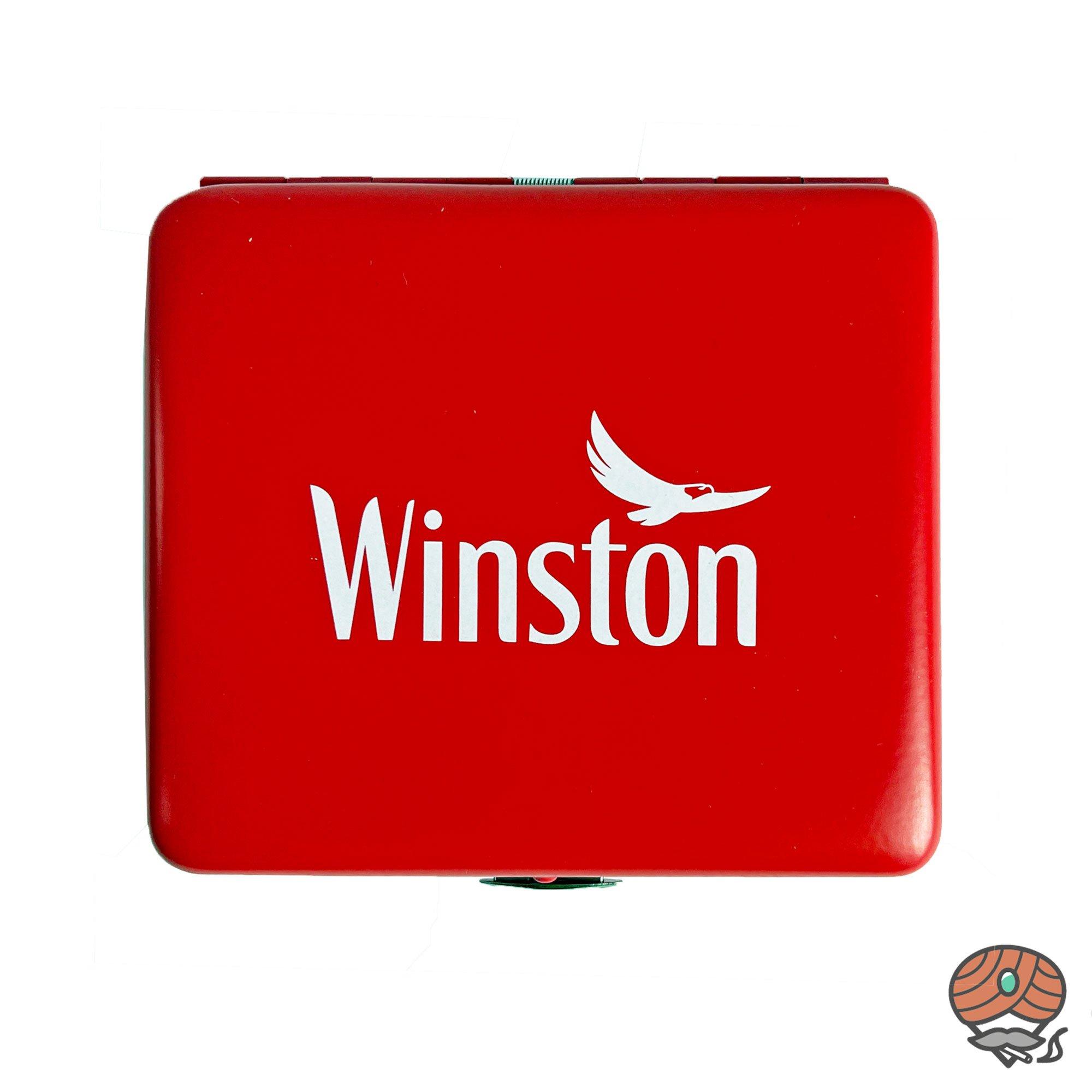 Winston Metall-Zigarettenetui mit Clip, Farbe Rot