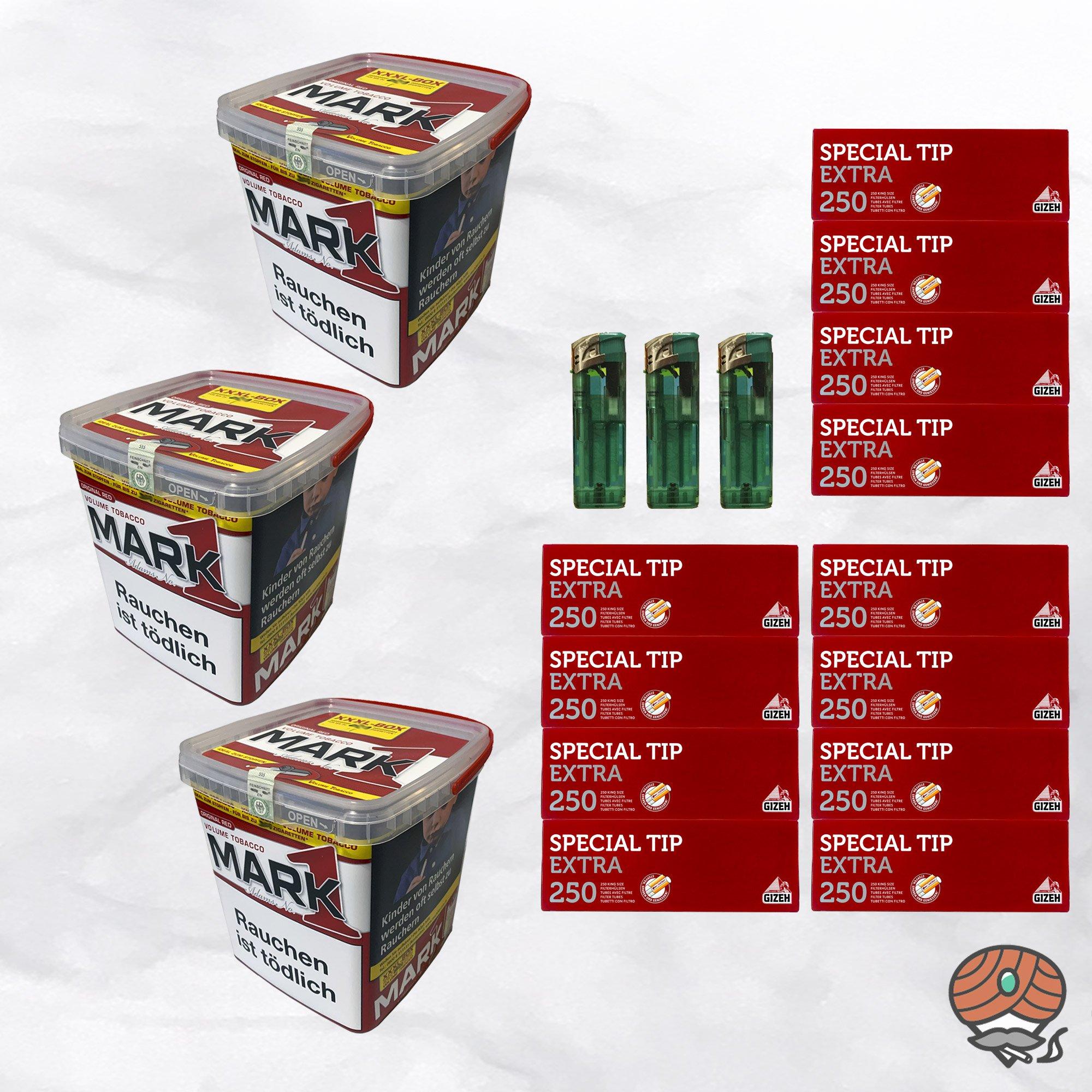 3x Mark Adams No. 1 Volumentabak 400g XXXL-Box, Extra Hülsen, Feuerzeuge