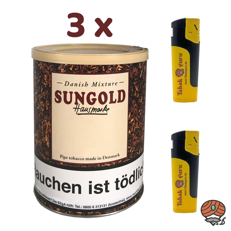 3 x Danish Mixture Hausmarke Sungold 200 g Dose Pfeifentabak + Zubehör