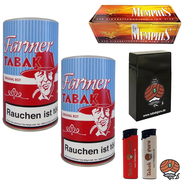 2 x Farmer Original Rot Pfeifentabak à 160g + Memphis Hülsen + Zubehör