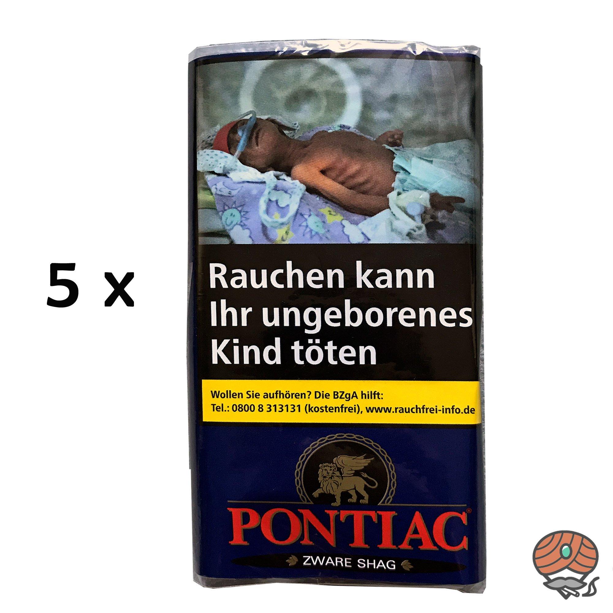 5x Pontiac Zware Shag 30g Drehtabak Beutel