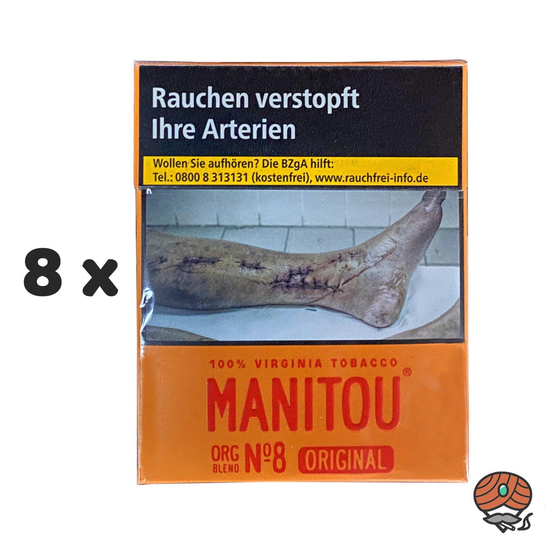 8 x Manitou Organic Blend Original No. 8 Zigaretten à 24 Stück - 1 Stange