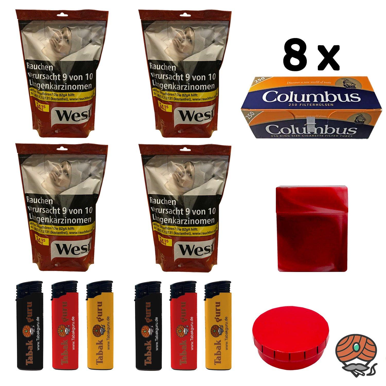 4x WEST Red / Rot Tabak Volumentabak à 134g, 2.000 Columbus Hülsen + Zubehör