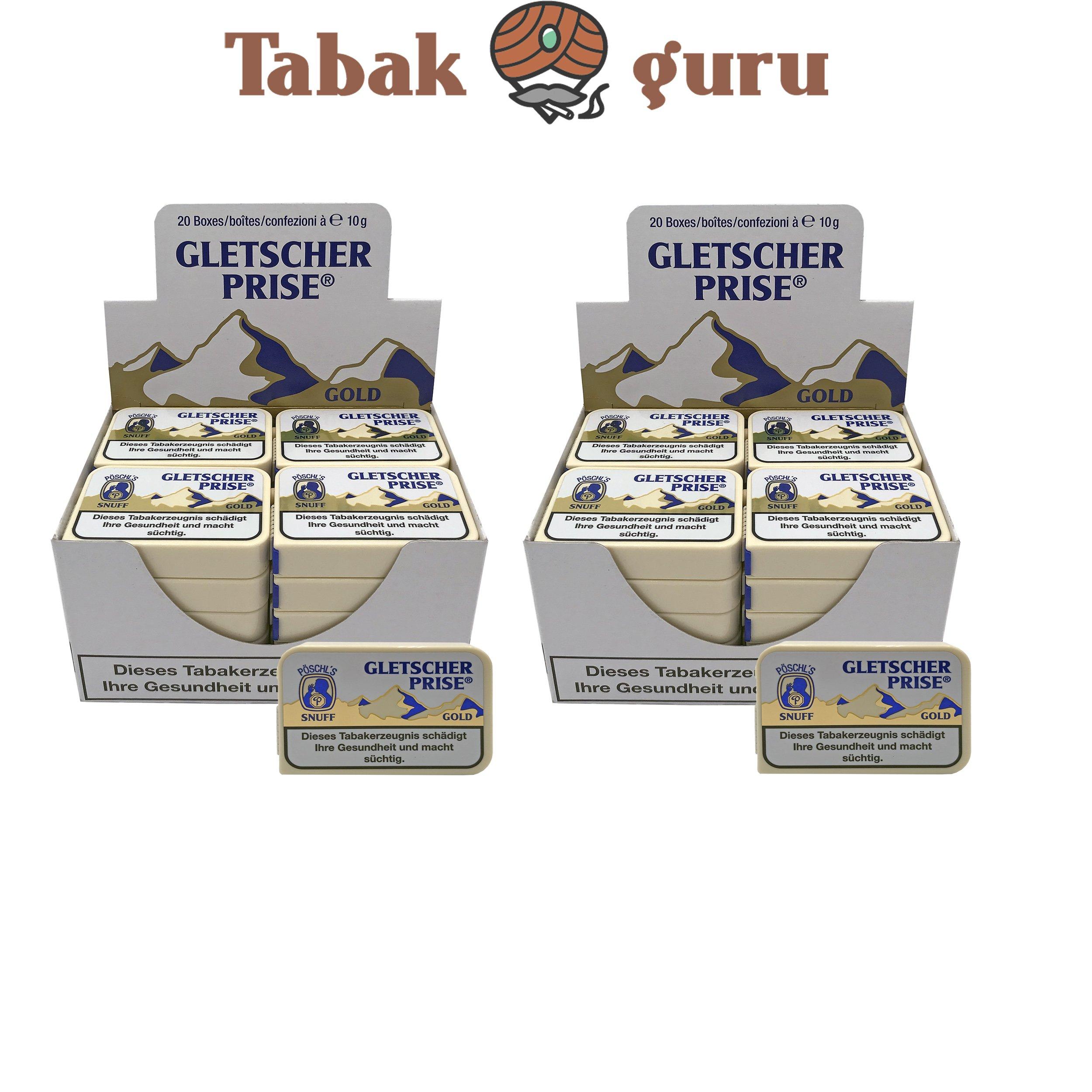 40x Gletscher Prise Gold Snuff Schnupftabak 10g Dose