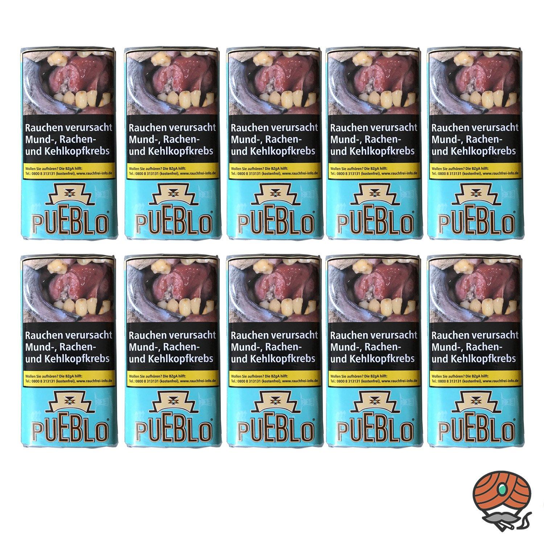 10x Pueblo Blue ohne Zusätze Feinschnitt Drehtabak 30 g Pouches