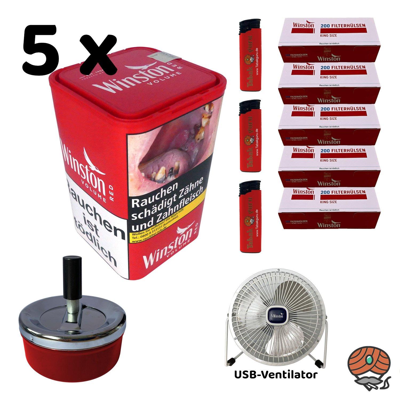 5x Winston Red/Rot Volumentabak 96 g XL Dose + King Size Hülsen + USB Ventilator