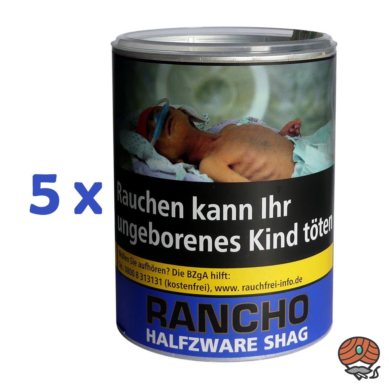 5 x Rancho Halfzware Shag Zigarettentabak Dose à 190 g