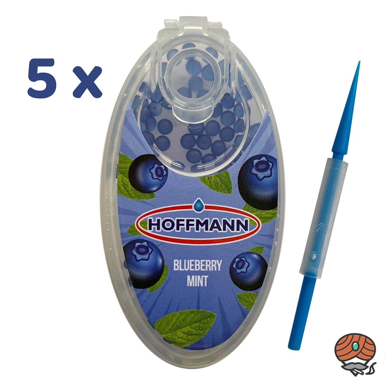 5 x Hoffmann Aromakapseln für Filterzigaretten - BLUEBERRY MINT / BLAUBEERE Dose à 100 Kapseln