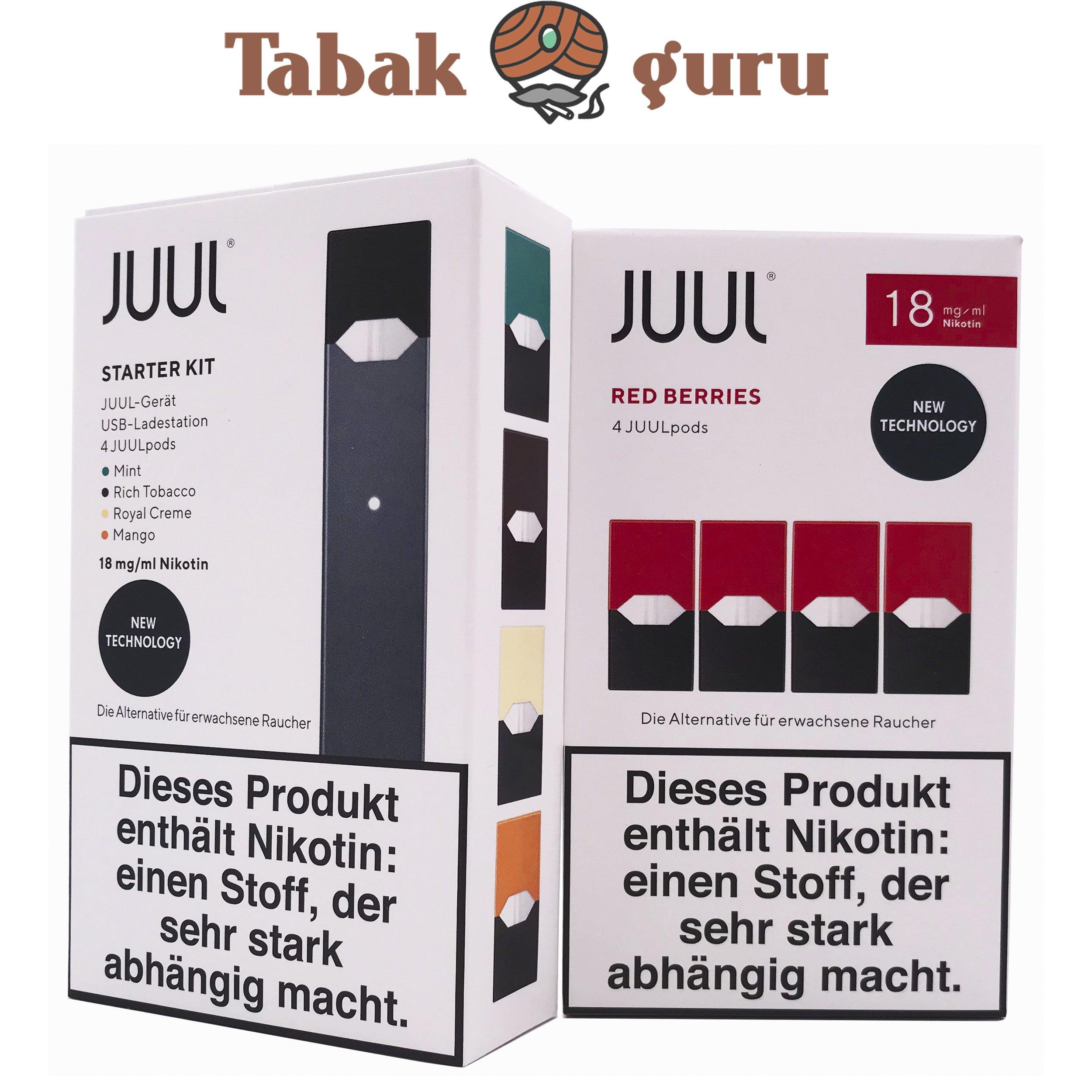 JUUL Starter-Kit mit 4 JUULpods Inkl. 4 JUULpods Red Berries 18mg
