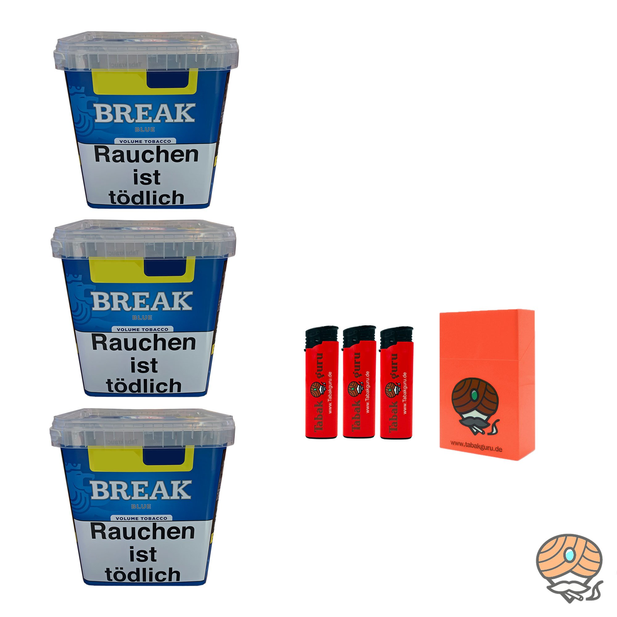 3 x Break Blue / Blau Volumentabak Giga Box 230g + 2000 Hülsen wählbar - Angebot ohne Hülsen