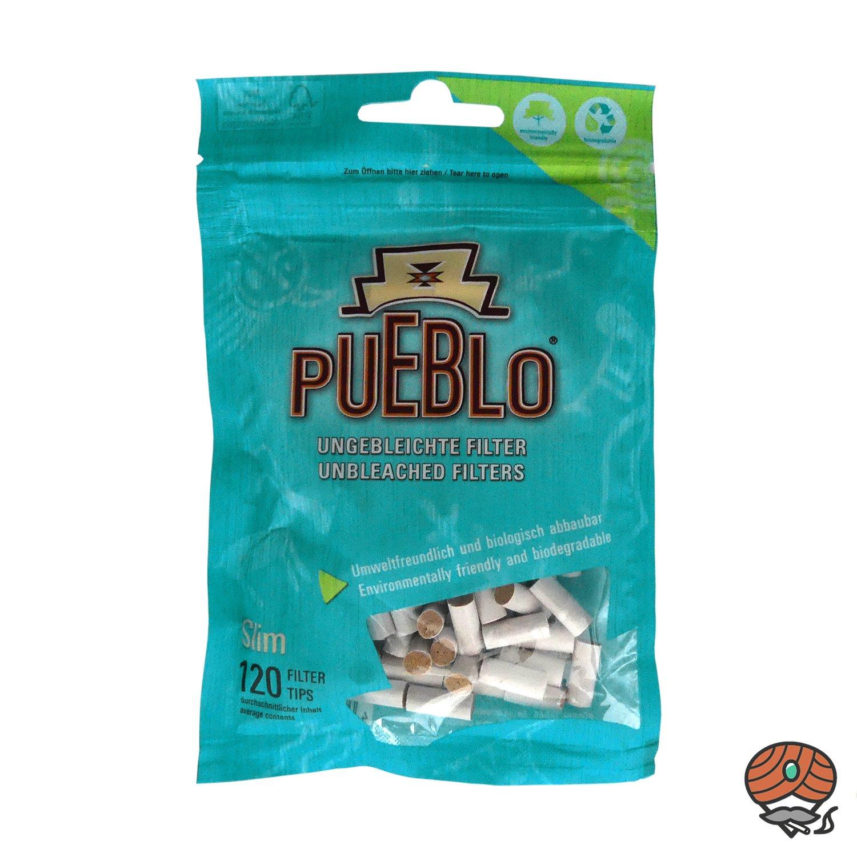 Pueblo Slim Filter Tips, 120 ungebleichte Filter, biologisch abbaubar