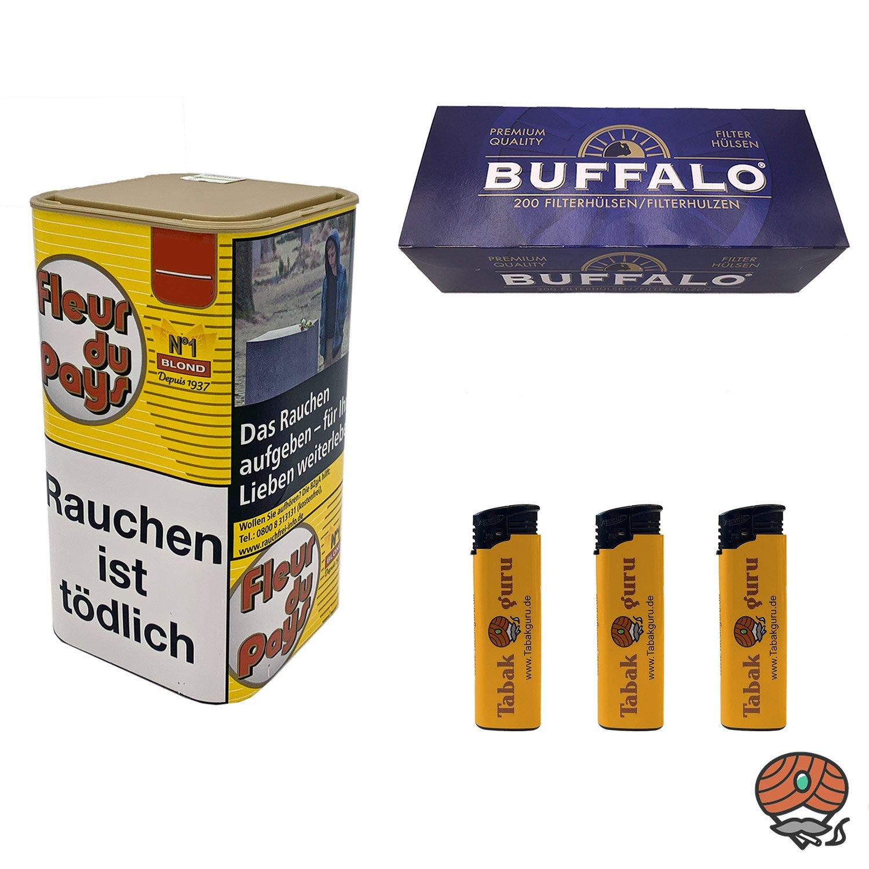 Fleur du Pays No 1 Blond Feinschnitt-Tabak 150 g + 200 Buffalo Blau Hülsen + mehr