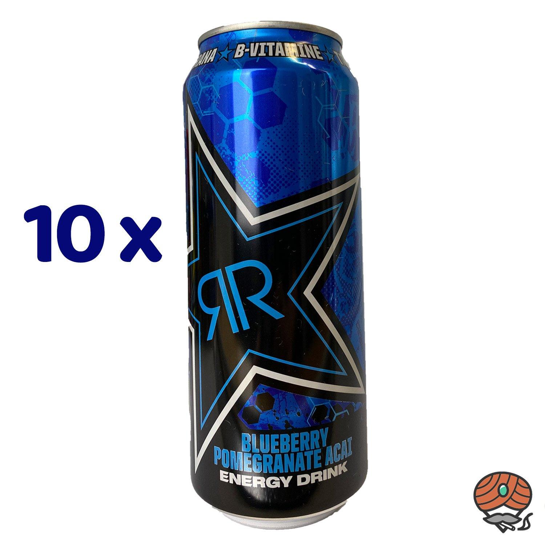 10 x Rockstar, XDurance, Blueberry Pomegranate Acai, Energy Drink, 500 ml Dose