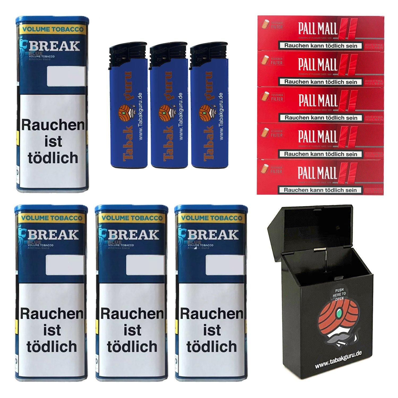 4x Break Blue/Blau XXL Volumentabak 120g, Extra-Hülsen, Feuerzeuge, Box
