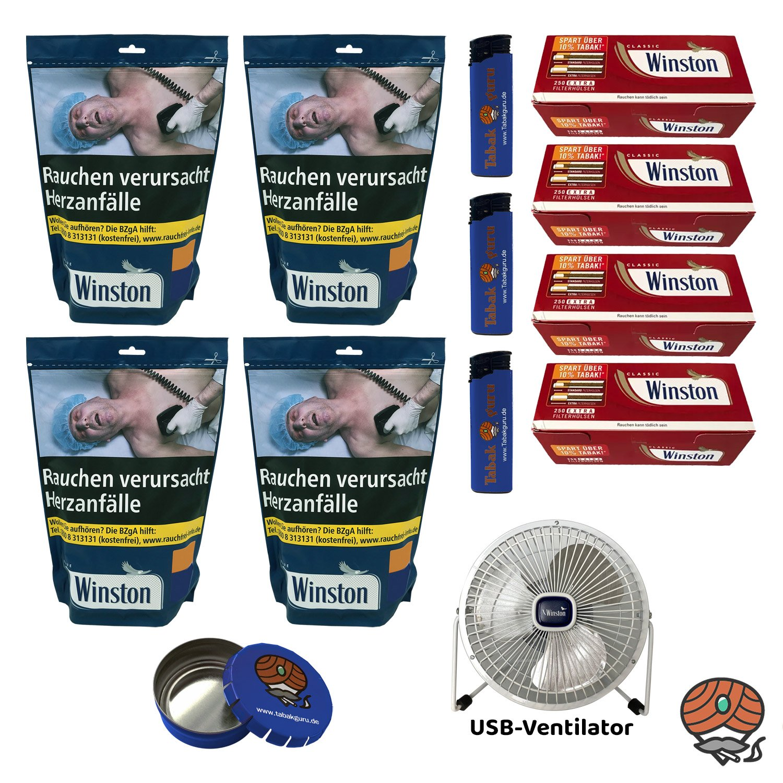 4x Winston Blue/Blau Volumentabak 135 g Beutel + Extra Hülsen + USB Ventilator
