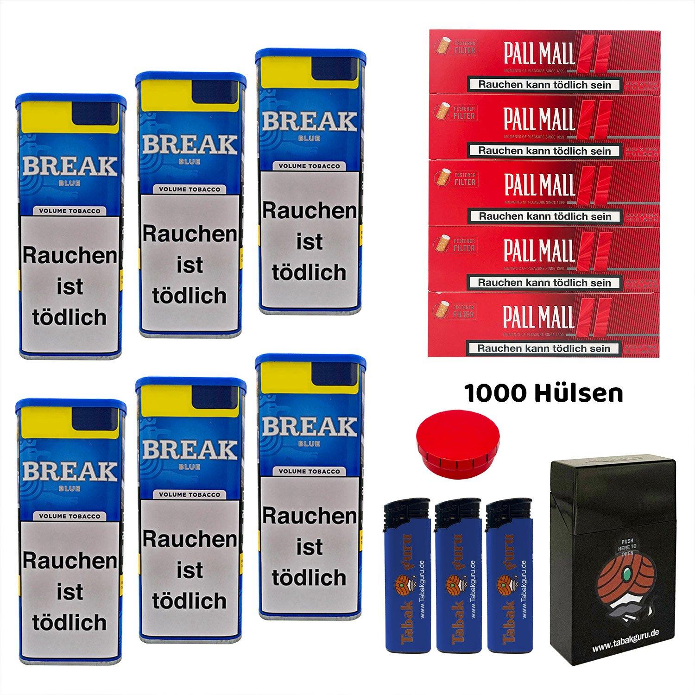 6x Break Blue/Blau XXL Volumentabak 120g, Pall Mall Red Hülsen viel Zubehör