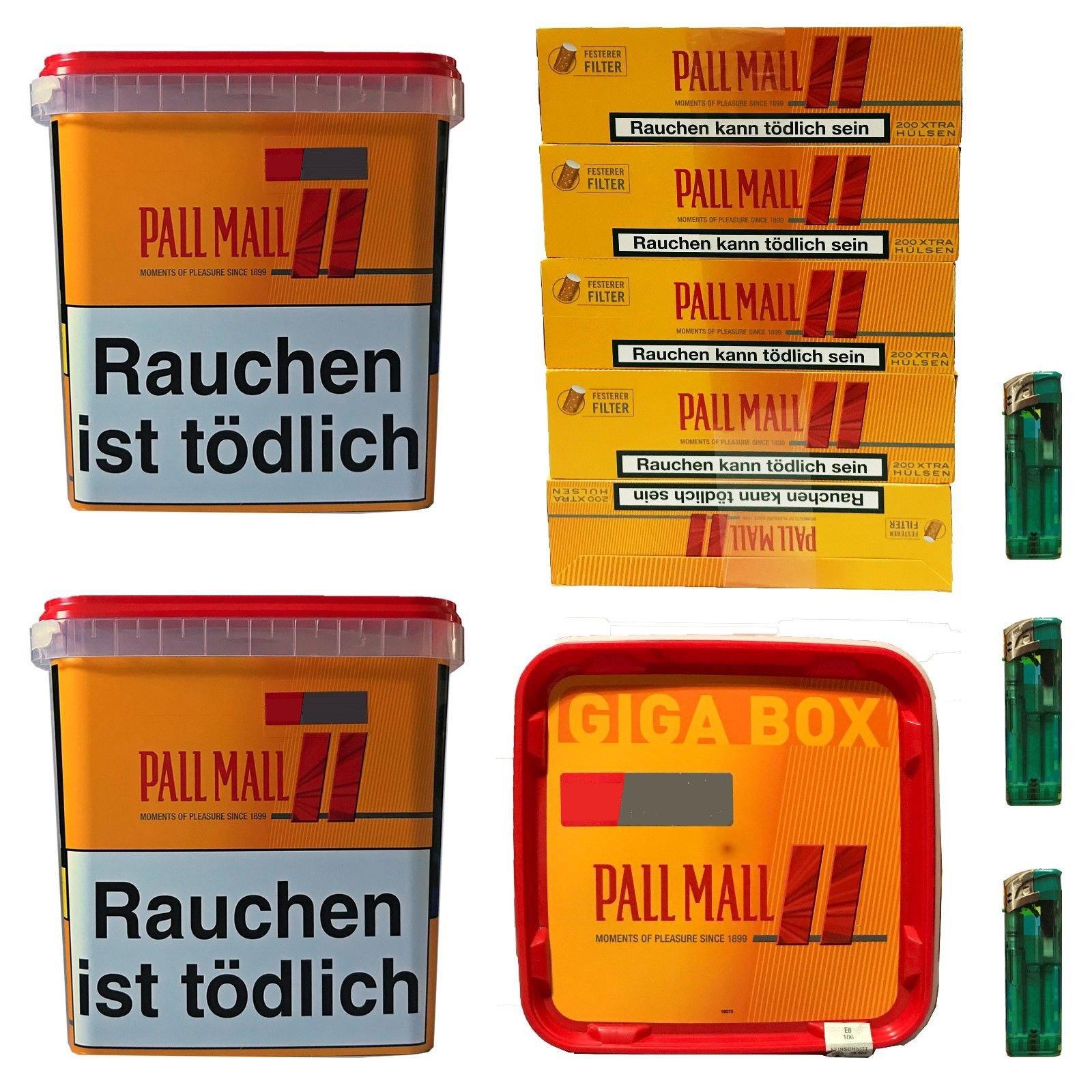 3x Pall Mall Giga Box 280 g Tabak / Volumentabak, Allround Hülsen, Feuerz