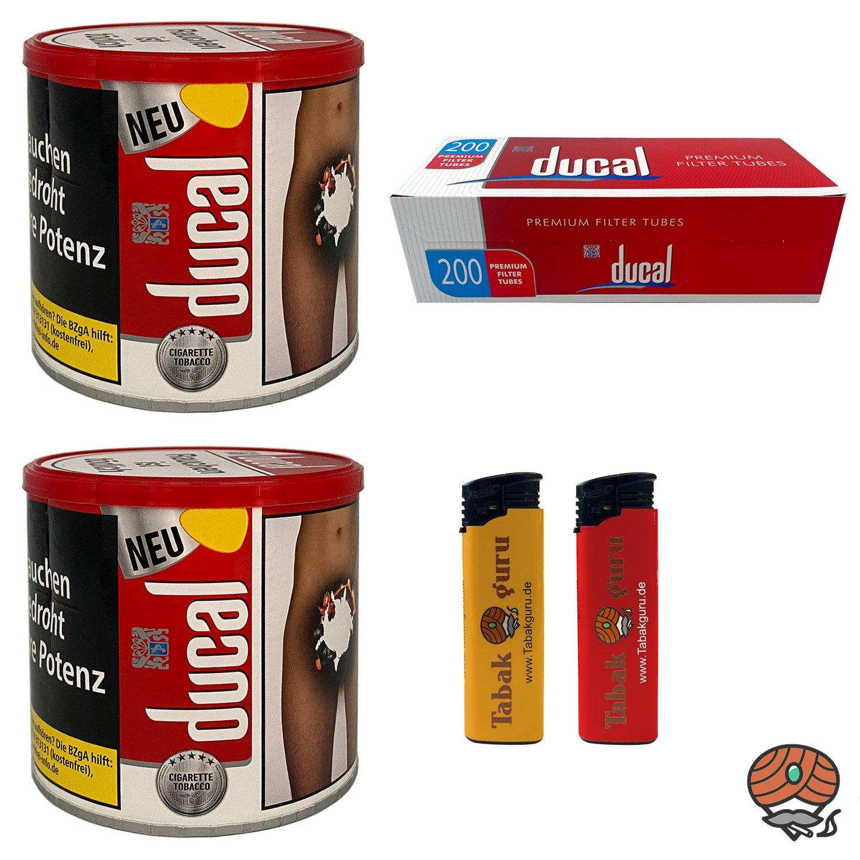 2 x ducal Red Classic Cigarette Tobacco 75 g Dose + ducal Hülsen + Feuerzeuge