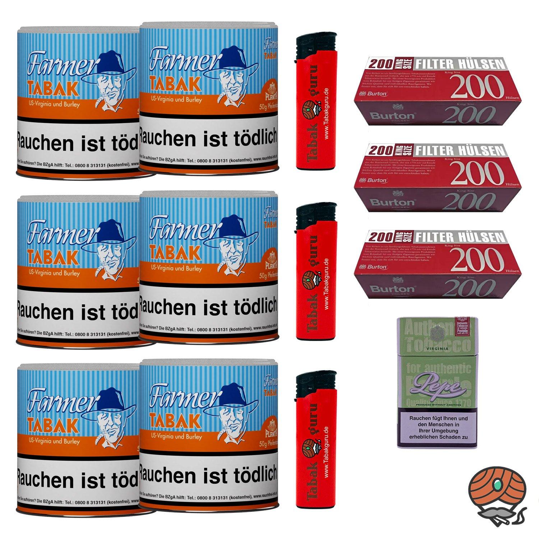 6x Farmer Tabak Dosen/ Pfeifentabak à 50g + 600 Burton Hülsen, Zubehör