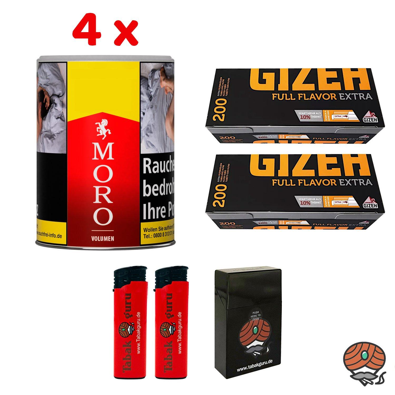 4 x Moro Rot Volumentabak 52 g Dose + 400 Gizeh Full Flavor Extra Hülsen + Zubehör
