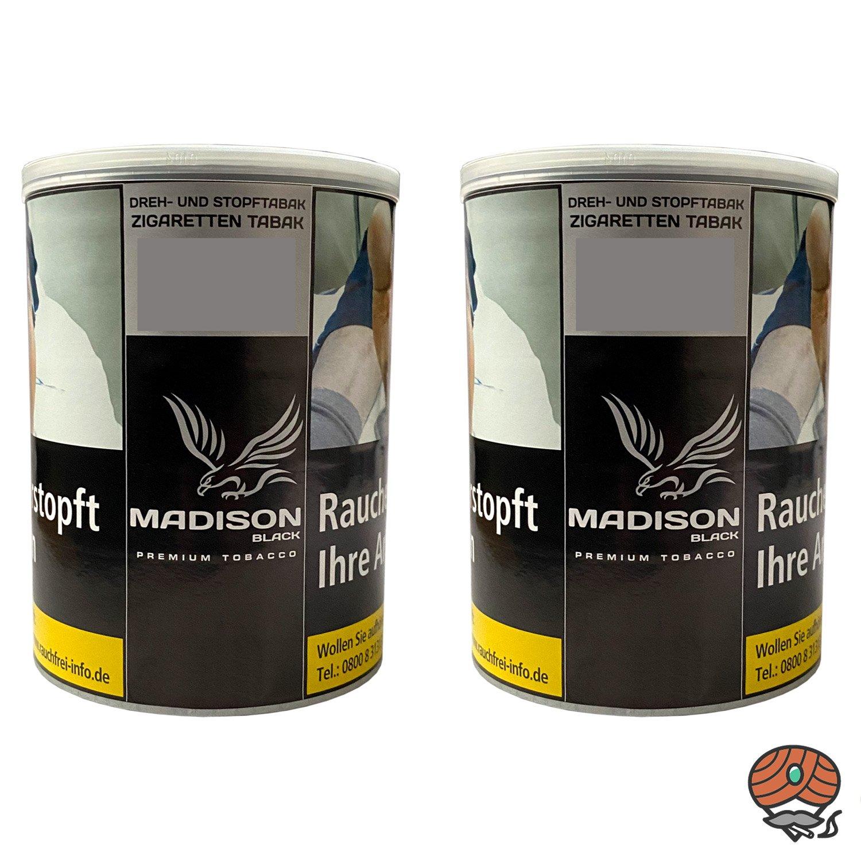 2x MADISON Black Premium Tobacco Zware Drehtabak / Stopftabak 120 g Dose