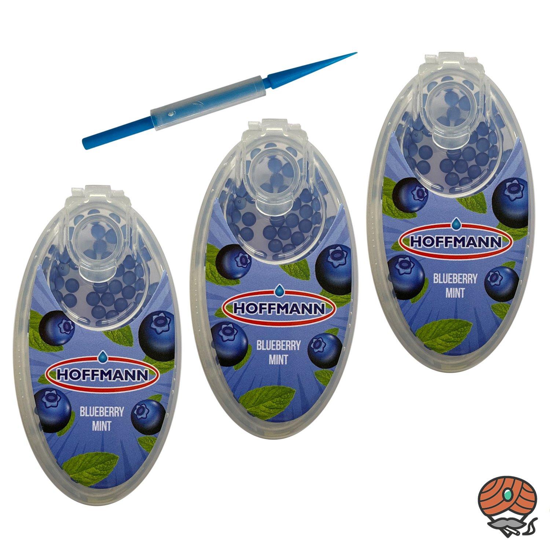 3 x Hoffmann Aromakapseln für Filterzigaretten - BLUEBERRY MINT / BLAUBEERE Dose à 100 Kapseln