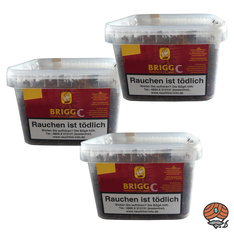 3x Brigg C (Cherry) Eimer Pfeifentabak à 400 g mit fruchtigem Kirscharoma
