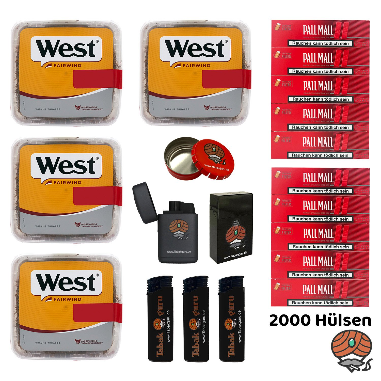 4x West Yellow Tabak Jumbo Box 185g, Pall Mall Red Xtra Hülsen + Zubehör