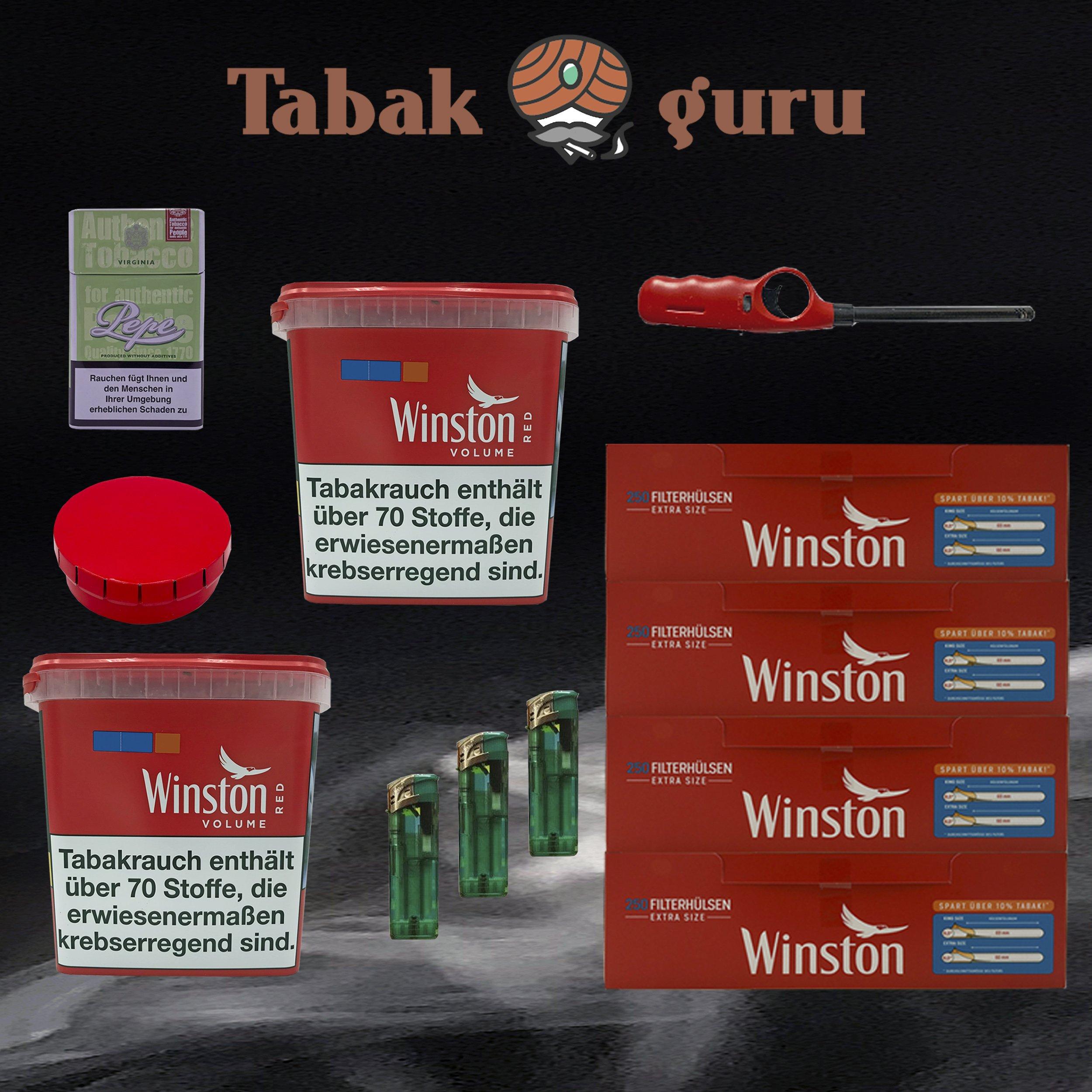 2x Winston Red/Rot Giant Box 315g Volumentabak, Extra Hülsen, + Zubehör