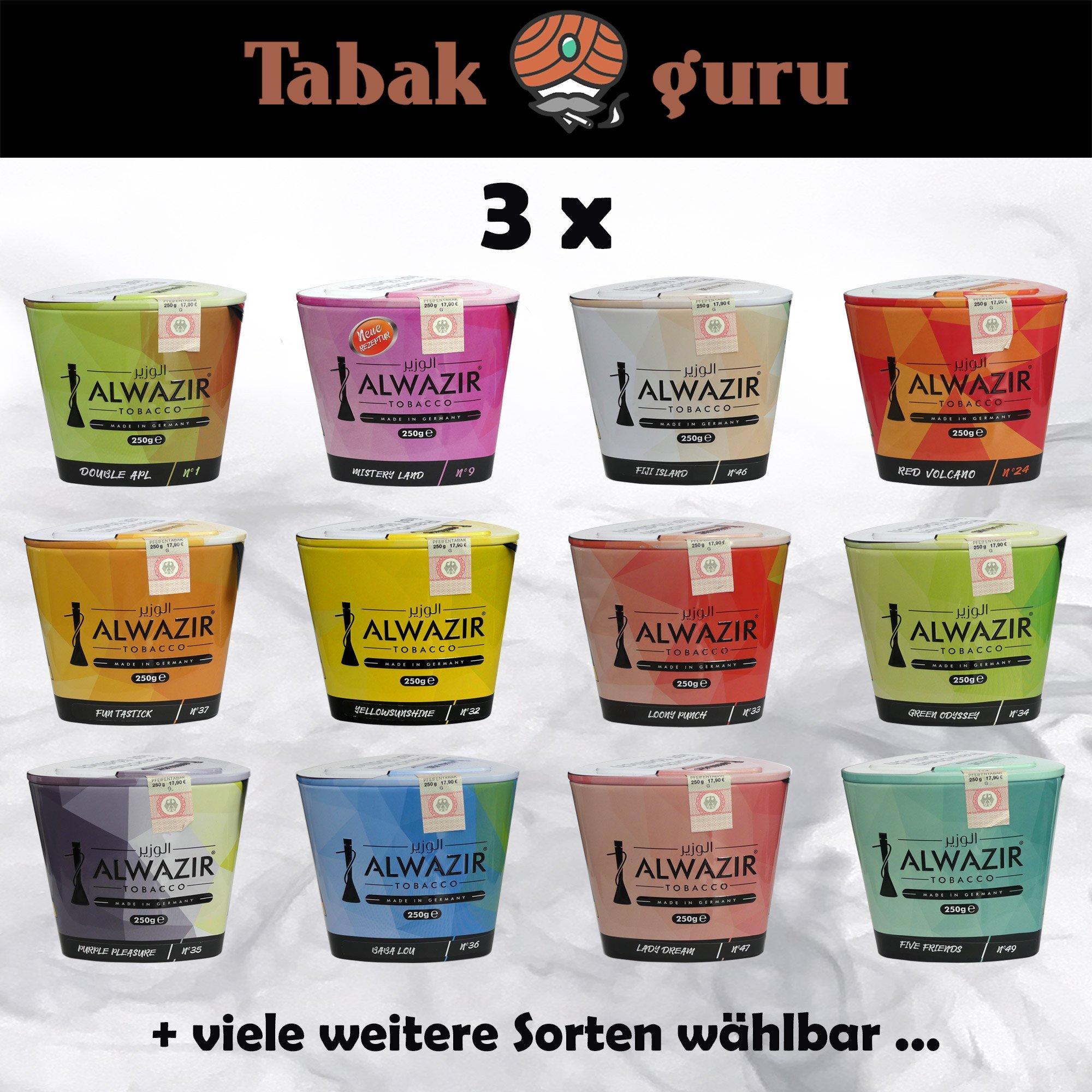 3 Dosen Alwazir Shisha Tabak 250 g - alle Sorten wählbar