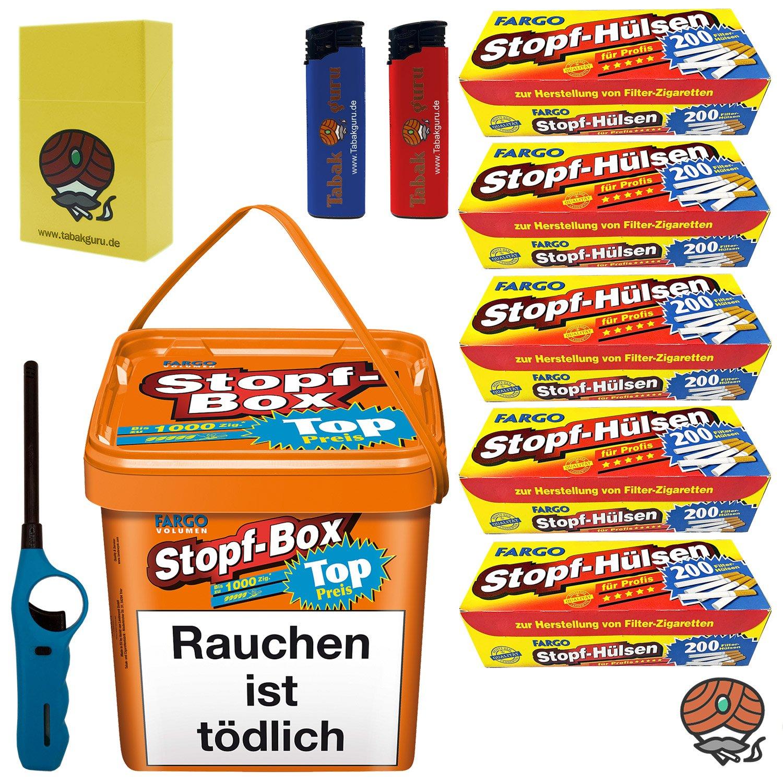 Fargo Stopf-Box Stopftabak / Volumentabak 480g Eimer + 1.000 Fargo Hülsen + Zubehör