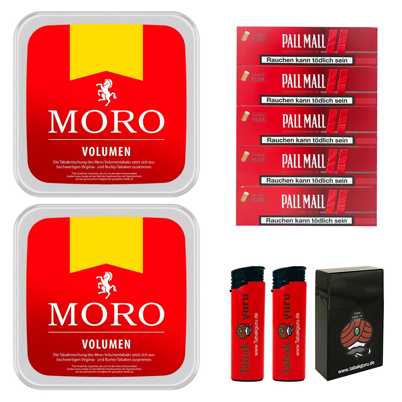 2 x Moro Rot Volumentabak 225 g Box + 1000 Pall Mall Red Hülsen + Zubehör