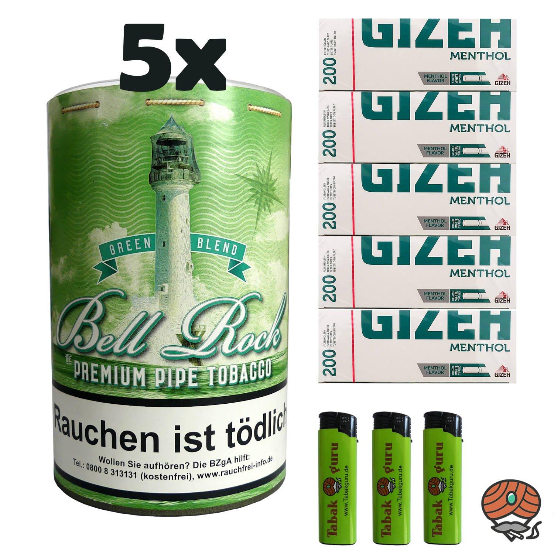 5 x Bell Rock Green Blend Menthol Pfeifentabak 160g Dose + 1000 Menthol-Hülsen