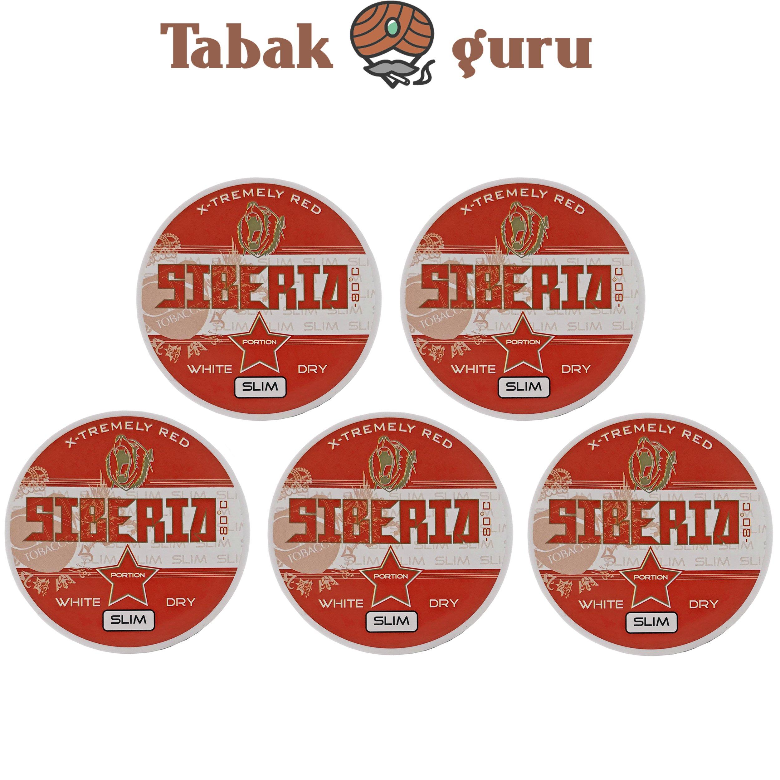 5x Siberia 80° Extremely Red White Dry Slim Kautabak Dose