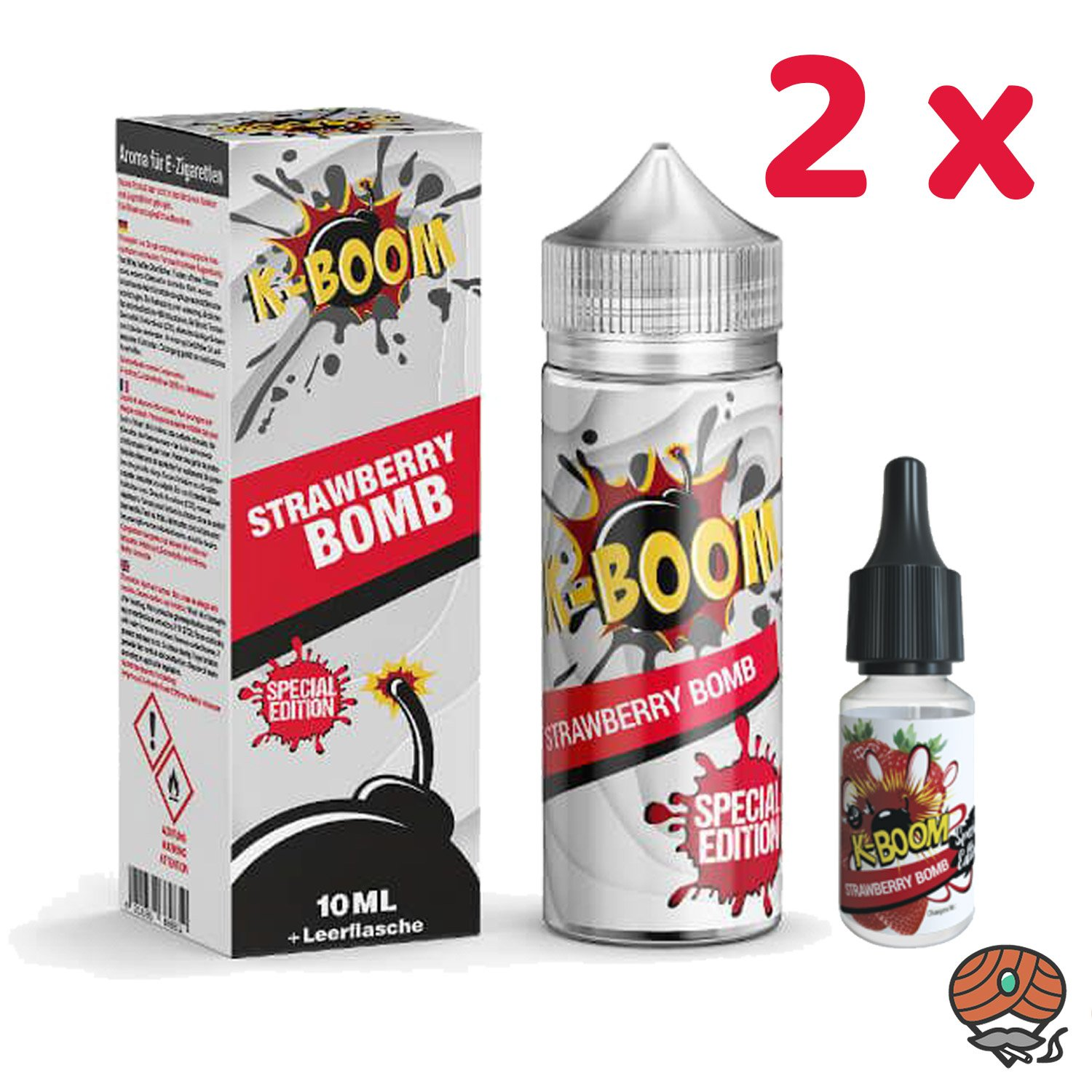 2 x K-BOOM Strawberry Bomb 10 ml Aroma + Leerflasche, Longfill