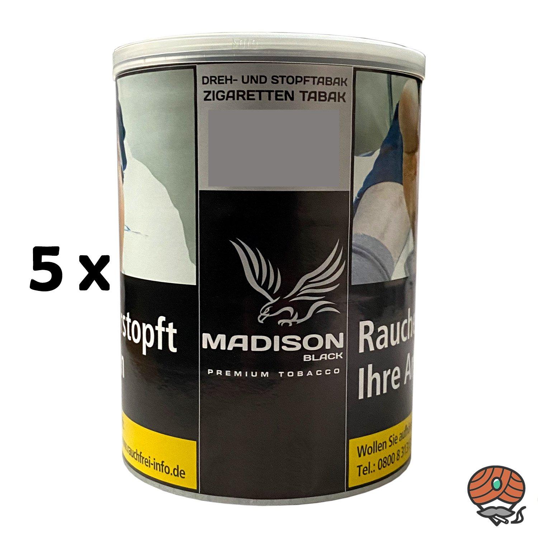 5x MADISON Black Premium Tobacco Zware Drehtabak / Stopftabak 120 g Dose