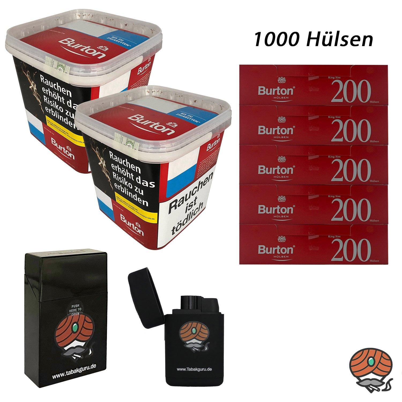2x Burton Red Volumentabak XXXL Eimer 350g, 1.000 Hülsen, Sturmfeuerzeug, Flip Case