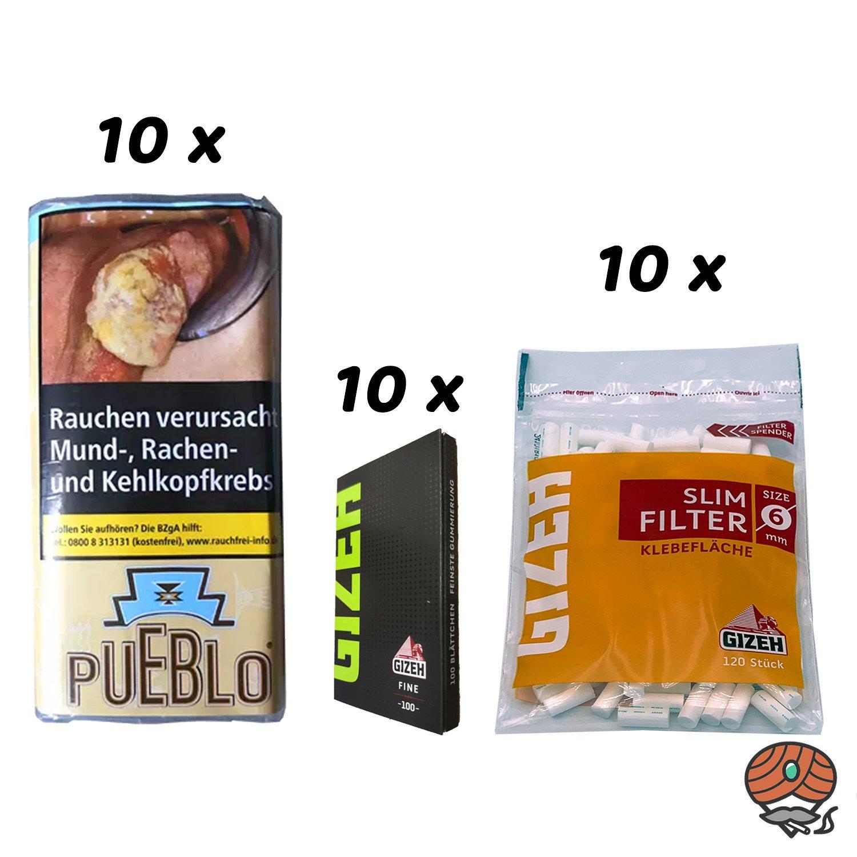 10 x Pueblo Classic 30 g Drehtabak + 10 x Gizeh Blättchen + 10 x Gizeh Slim Filter