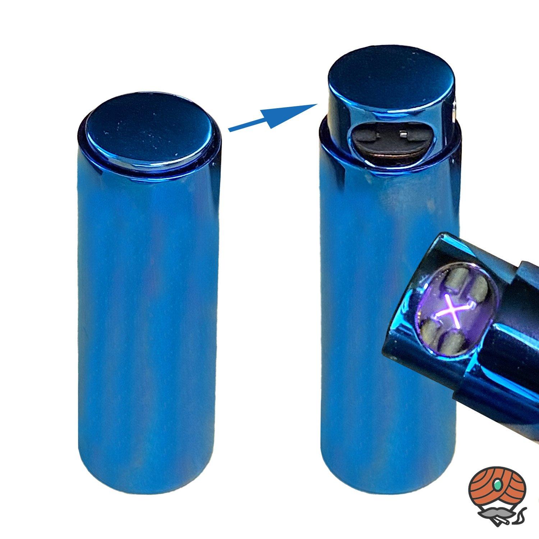 Cozy X-Arc LIPSTICK Feuerzeug mit Lichtbogen-Technik, Blau metallic, per USB aufladbar