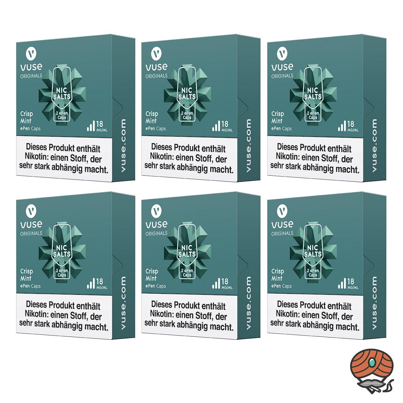 Vuse ePen Caps 6x Crisp Mint 18 mg/ml à 2 Caps (ehem. Vype ePen3 Crushed Mint)