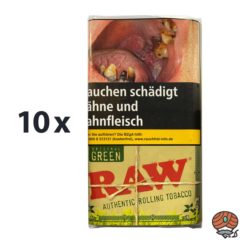 10 x RAW Original Green Authentic Rolling Tabak / Drehtabak Pouches 30 g