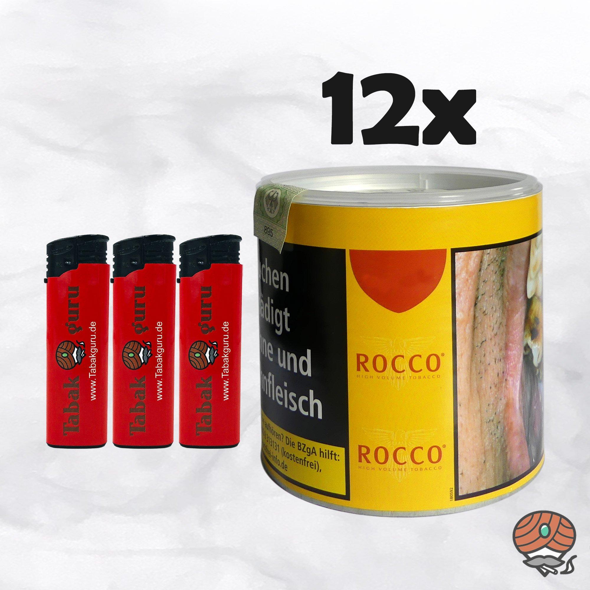 12 x ROCCO Tabak / Volumentabak Gelb Dose 35 g + Feuerzeuge