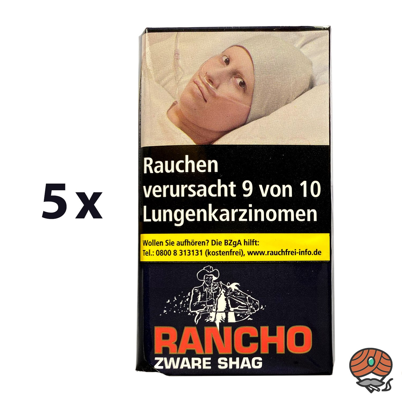5 x Rancho Zware Shag Zigarettentabak 40 g Pouch