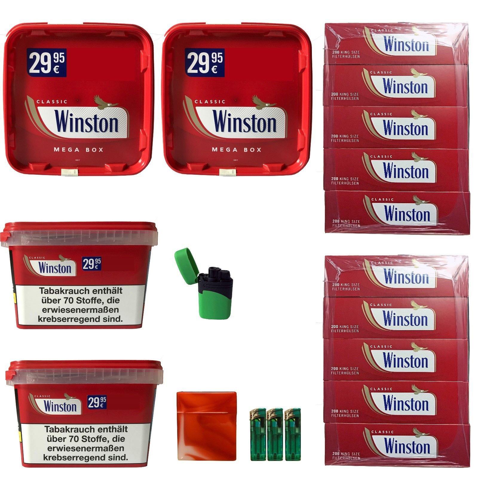 4 x Winston Tabak/Volumentabak Mega Boxes 185g, Winston Classic Hülsen + Zubehör
