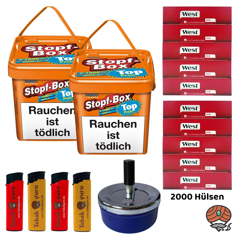 2 x Fargo Stopf-Box 480 g Volumentabak + 2.000 West Hülsen + Aschenbecher