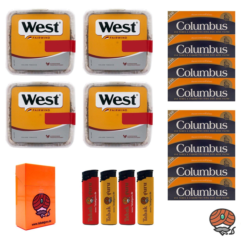 4x West Yellow Volumentabak Jumbo Box 185g + 2000 Columbus Hülsen + Zubehör